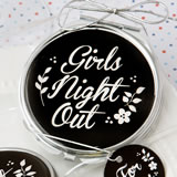 'Girls Night Out' silver metal compact mirror with black epoxy top