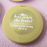 Personalized metallics collection Gold compact mirror - wedding
