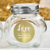 Personalized Metallics Collection Glass candy jars with silver screw top