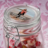 Personalized expressions large glass apothecary jar with hinged top