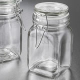 Perfectly plain large glass apothecary jar with hinged top