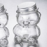 Perfectly plain collection Teddy bear jar with matte silver screw on lid