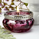 Burgundy rose vintage mercury glass  tealight candle holder