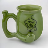 High Tea single wall Mug - shiny green with black imprint