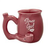 Stoner girl pink with white imprint mug - roast and toast mug