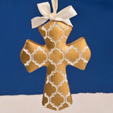 Gold Hampton link design Cross Ornament from fashioncraft