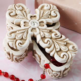 Baroque design vintage Cross themed 2 piece trinket box