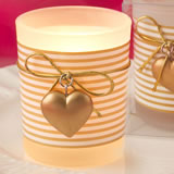 Glass gold heart design votive candle holder with a white and gold  striped design around a frosted