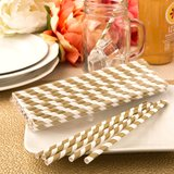 'Perfect Plain' collection Matte gold and white stripe design paper straws
