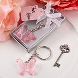 Delicate pink butterfly key chain from fashioncraft