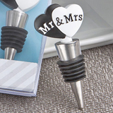 Mr. and Mrs. Heart Design Wine Bottle Stoppers
