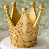 "6"" tall Ornate Crown themed gold centerpiece"