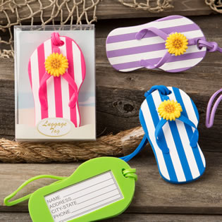 Flip Flop luggage Tags with striped design from gifts by fashioncraft