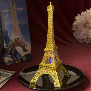 Eiffel tower centerpiece with Gold Glitter in clear acrylic plastic with colorful LED lights