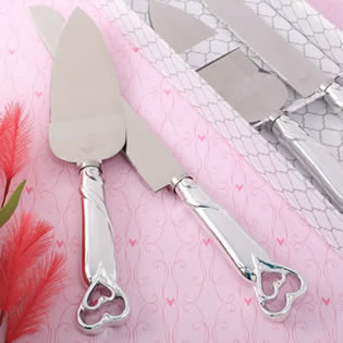 two piece shiny silver cake knife set from fashioncraft