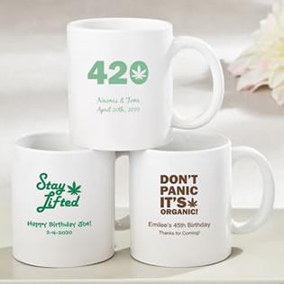 64e6a1da012 Personalized white ceramic coffee mug - cannabis design - Favor Favor