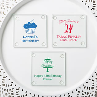Personalized Stylish coasters from fashioncraft - birthday design