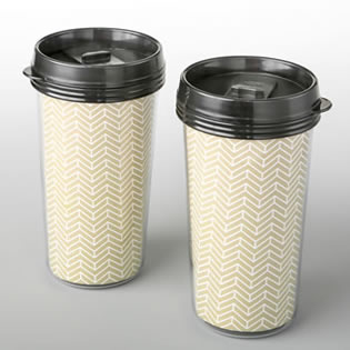 Double wall insulated Coffee cup with gold chevron design from fashioncraft