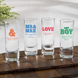 Personalized Fun 2 oz shooter glasses - marquee design