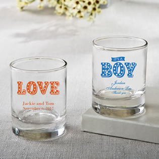Personalized Shot glass or votive from fashioncraft - marquee design