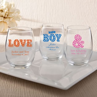 Personalized 9oz Stemless Wine Glasses From Fashioncraft - marquee design