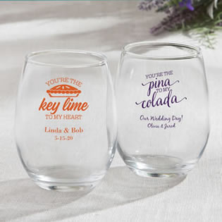 Personalized 9 oz Stemless Wine Glasses From Fashioncraft - tropical design