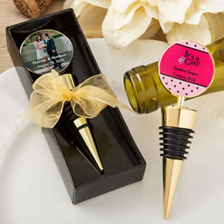 Personalized expressions collection gold metal wine bottle stopper with a gold metal round top