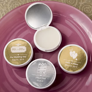Personalized metallics Collection vanilla scented lip balm with real glass mirror