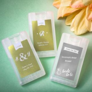 Personalized metallics collection Credit card press and Spray hand sanitizer