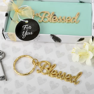 Blessed theme gold metal key chain from fashioncraft