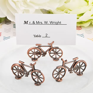 Vintage Bicycle design antique copper color metal placecard holder / Photo holder