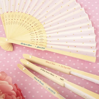 Personalized Collection Gold dot silk folding fan favor
