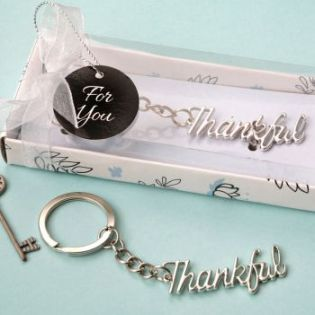 Silver THANKFUL metal key chain