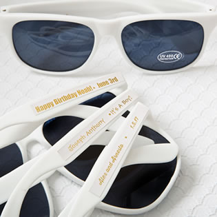 personalized metallics collection white sunglasses from fashioncraft