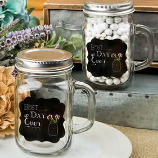 Sayings collection 'Best Day Ever' 12 oz glass mason jar with handle