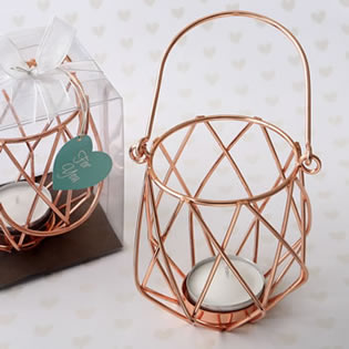 Geometric design rose gold metal tealight candle holder
