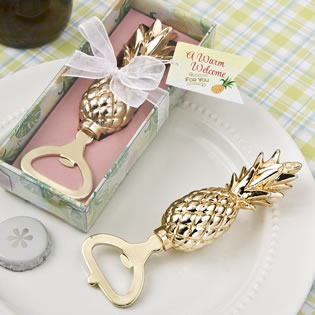 Warm Welcome Collection gold pineapple themed bottle opener