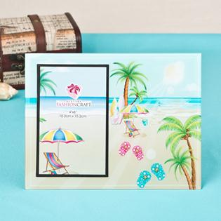 Lovely Flip flop, palm trees, beach themed glass frame 4x6