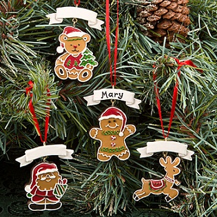 Gingerbread themed holiday ornaments from Gifts by Fashioncraft