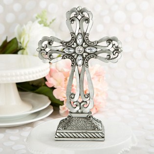 Large pewter cross statue with antique accents