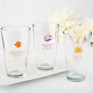 Personalized Pint Glass Favors - Exclusive Themed Designs