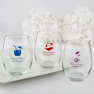 Stemless Wine Glass Favors - 9 Ounce - Exclusive Themed Designs