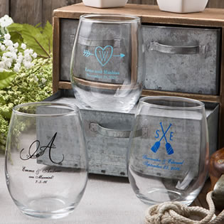 15oz Stemless wine glasses from Fashioncraft's Silkscreened Monogram Collection