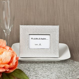 Silver metallic photo frame or placecard holder with textured leatherette diamond finish