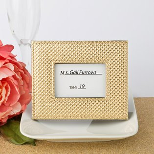 Gold metallic photo frame or placecard holder with textured leatherette diamond finish