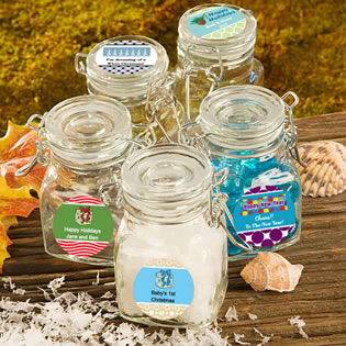 Personalized Holiday Glass Jar Favors