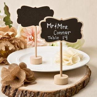 Rustic chalk board placecard holder from Fashioncraft