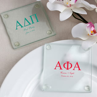 Personalized Glass Greek Design Coaster