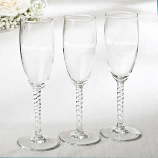 Elegant Champagne Flutes - Bridesmaid Design