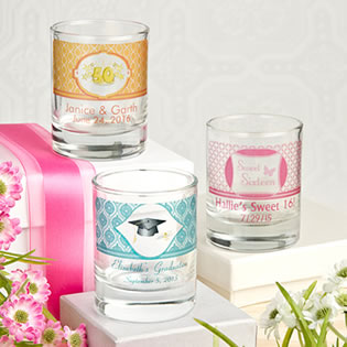 Clearly Custom  Shot Glass/Votive Holder with Personalized Sticker